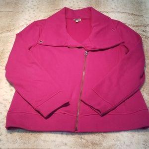 Talbots Heavier Pink Angled Zip Sweatshirt Jacket